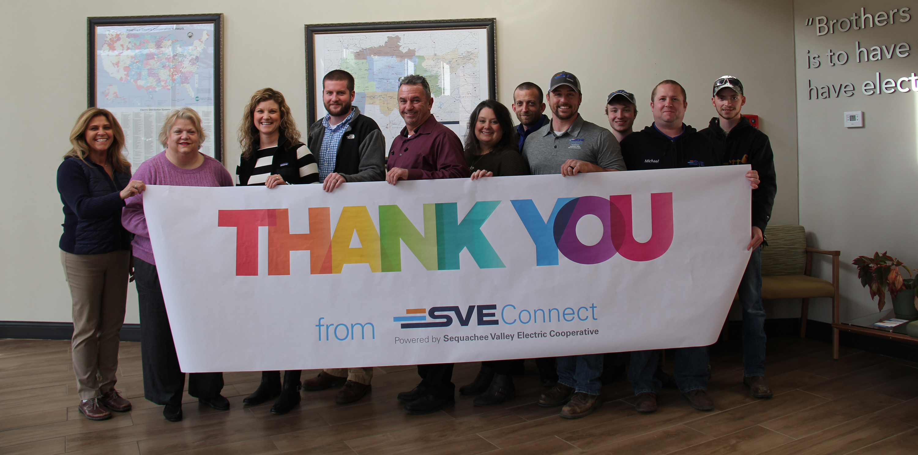 s v e connect staff thank customers for one year of business